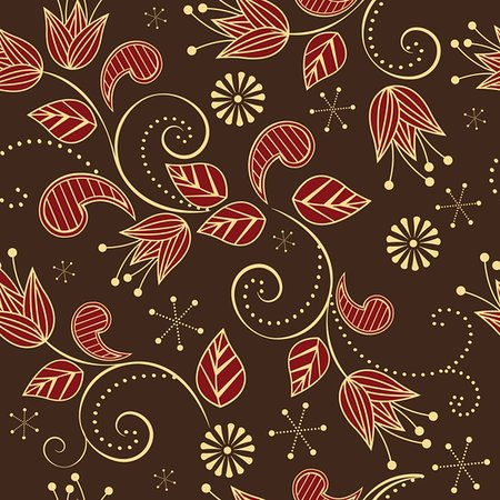 seamless pattern with red flowers and leaves Stock Photo - Budget Royalty-Free & Subscription, Code: 400-06099370