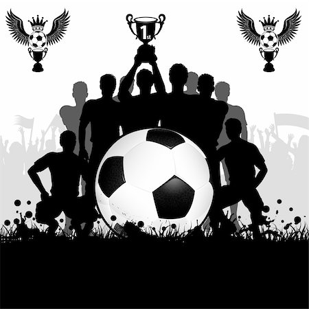 Soccer Poster with Winning Football Team with the Cup in his hands and Fans, vector illustration Stock Photo - Budget Royalty-Free & Subscription, Code: 400-06099519