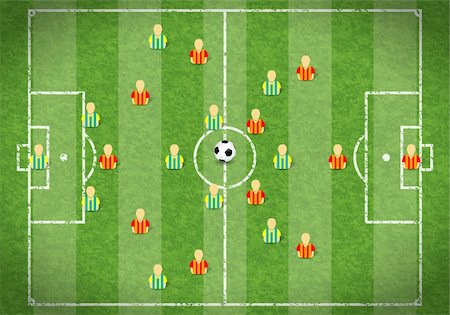 Football Field with Marking, Icon Soccer Player and Ball, vector illustration Stock Photo - Budget Royalty-Free & Subscription, Code: 400-06099525