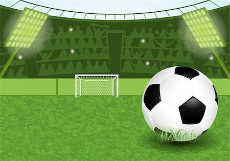 Football Stadium with Soccer Ball and Fans, vector illustration Stock Photo - Budget Royalty-Free & Subscription, Code: 400-06099523