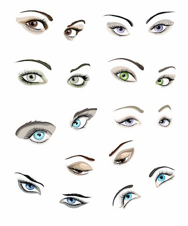 Set of 9 beautiful glamour woman?s eyes and eyebrows. Stock Photo - Budget Royalty-Free & Subscription, Code: 400-06099737