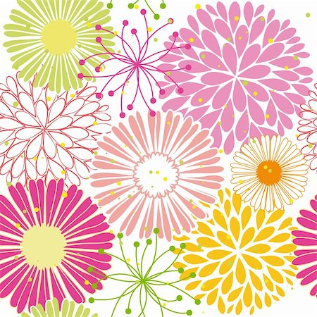 Abstract springtime colorful flower seamless pattern background Stock Photo - Budget Royalty-Free & Subscription, Code: 400-06090241