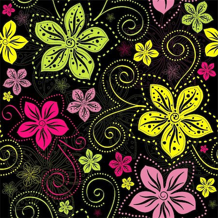 Seamless floral dark pattern with vivid colorful vintage flowers curls (vector) Stock Photo - Budget Royalty-Free & Subscription, Code: 400-06090377