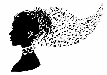 woman head with music notes in her hair, vector background Stock Photo - Budget Royalty-Free & Subscription, Code: 400-06090759