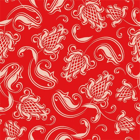 Seamless floral pattern. Beige flowers on a red background. Stock Photo - Budget Royalty-Free & Subscription, Code: 400-06091048
