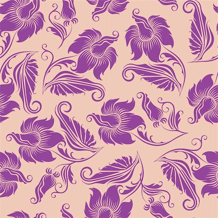 Seamless floral pattern. Beige flowers on a purple background. EPS10 Stock Photo - Budget Royalty-Free & Subscription, Code: 400-06091059