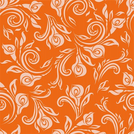 Seamless floral pattern. Beige flowers on orange background. Stock Photo - Budget Royalty-Free & Subscription, Code: 400-06091060