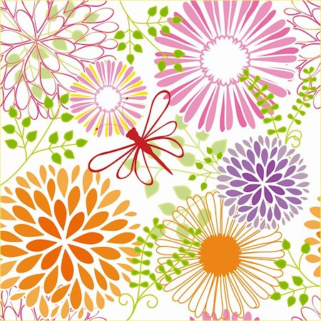 Abstract springtime colorful flower seamless pattern background Stock Photo - Budget Royalty-Free & Subscription, Code: 400-06091494
