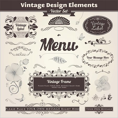 Vector set. Calligraphic design. Elements and page decoration. Stock Photo - Budget Royalty-Free & Subscription, Code: 400-06091559