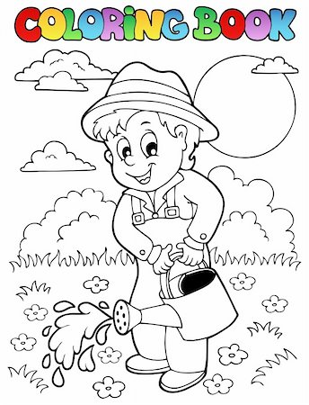 flower clipart paint - Coloring book garden and gardener - vector illustration. Stock Photo - Budget Royalty-Free & Subscription, Code: 400-06091817