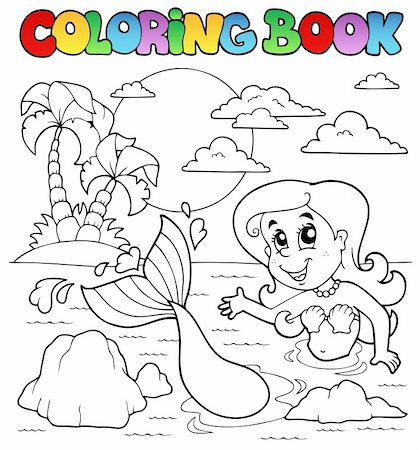 Coloring book ocean and mermaid 2 - vector illustration. Stock Photo - Budget Royalty-Free & Subscription, Code: 400-06091821