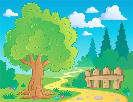 Tree theme image 2 - vector illustration. Stock Photo - Budget Royalty-Free & Subscription, Code: 400-06091846