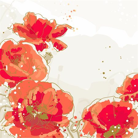 Beautiful red poppies on textured background Stock Photo - Budget Royalty-Free & Subscription, Code: 400-06092184