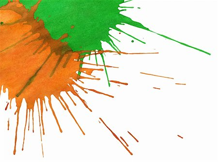 drop painting splash - Abstract orange-green watercolor drops isolated on white background Stock Photo - Budget Royalty-Free & Subscription, Code: 400-06092214