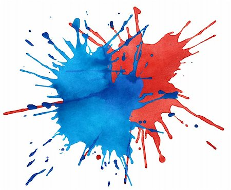 drop painting splash - Blot of blue and red watercolor isolated on white Stock Photo - Budget Royalty-Free & Subscription, Code: 400-06092215