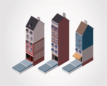 Detailed isometric town centre buildings Stock Photo - Budget Royalty-Free & Subscription, Code: 400-06092813