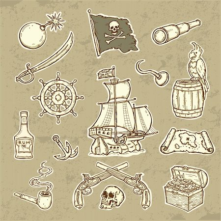 scope - Beautifull llustration of Pirates set  Icons in grunge style Stock Photo - Budget Royalty-Free & Subscription, Code: 400-06093009