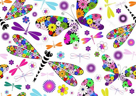 Seamless white floral pattern with colorful dragonflies and butterflies (vector) Stock Photo - Budget Royalty-Free & Subscription, Code: 400-06093018