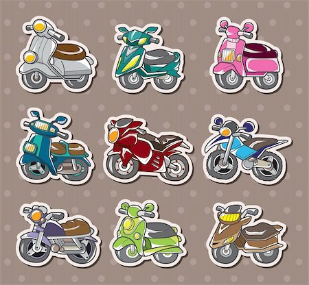sports scooters - cartoon motorcycle stickers Stock Photo - Budget Royalty-Free & Subscription, Code: 400-06093058
