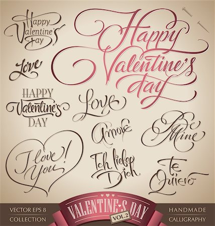 set of 10 valentine's hand lettered headlines - handmade calligraphy; vector illustration (eps8); Stock Photo - Budget Royalty-Free & Subscription, Code: 400-06093074