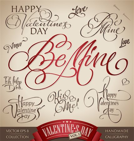 set of 10 valentine's hand lettered headlines - handmade calligraphy; vector illustration (eps8); Stock Photo - Budget Royalty-Free & Subscription, Code: 400-06093072