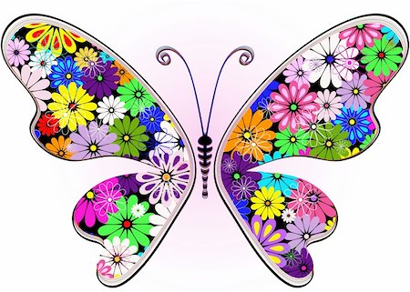 flower design with butterfly - Vivid fantasy floral abstract butterfly for design on white-pink (vector) Stock Photo - Budget Royalty-Free & Subscription, Code: 400-06093198