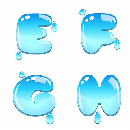 fancy letters - A set of water bead font type, letter E to H Stock Photo - Budget Royalty-Free & Subscription, Code: 400-06093213