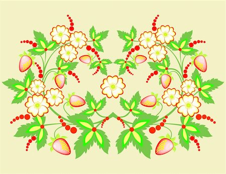 plant leaf paintings graphic - Illustration of abstract flowers and strawberries Stock Photo - Budget Royalty-Free & Subscription, Code: 400-06093260