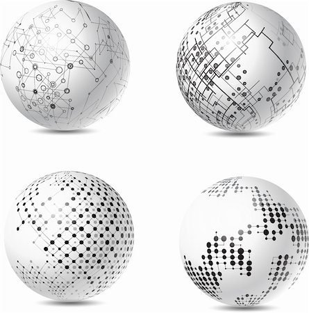 Collection of four spheres with abstract futuristic style designs Stock Photo - Budget Royalty-Free & Subscription, Code: 400-06093293
