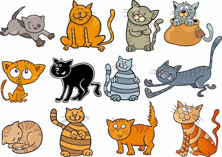 cartoon illustration of funny twelve cats set Stock Photo - Budget Royalty-Free & Subscription, Code: 400-06093548