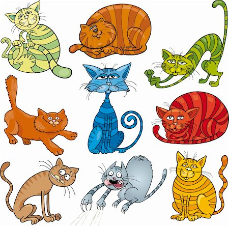 cartoon illustration of funny nine cats set Stock Photo - Budget Royalty-Free & Subscription, Code: 400-06093549