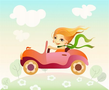 Vector illustration  of a girl driving car Stock Photo - Budget Royalty-Free & Subscription, Code: 400-06093583