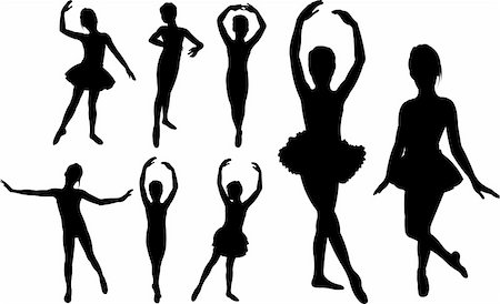 Set of ballet girls dancers silhouettes Stock Photo - Budget Royalty-Free & Subscription, Code: 400-06093607