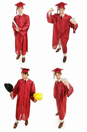 education loan - Multiple views of a young high school or college graduate.  Multiple views, full body, isolated on white. Stock Photo - Budget Royalty-Free & Subscription, Code: 400-06093631