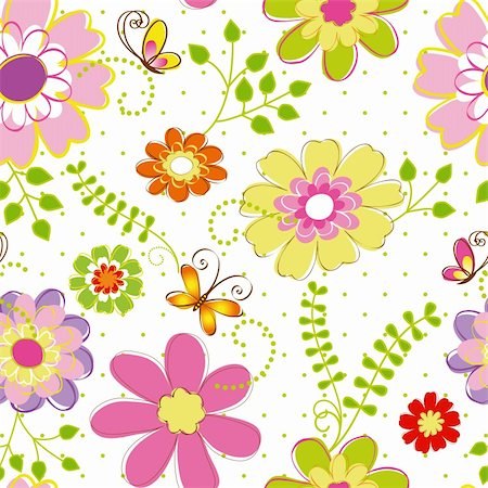 Abstract springtime colorful flower seamless pattern background Stock Photo - Budget Royalty-Free & Subscription, Code: 400-06093653