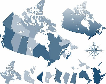 Map of Canada and provinces Stock Photo - Budget Royalty-Free & Subscription, Code: 400-06093903