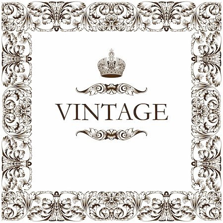 Vintage frame decor ornament vector Stock Photo - Budget Royalty-Free & Subscription, Code: 400-06093932