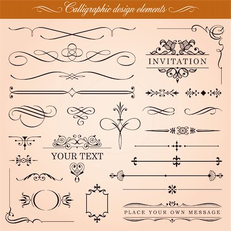 Set of vector calligraphic design elements and page decoration Stock Photo - Budget Royalty-Free & Subscription, Code: 400-06104254
