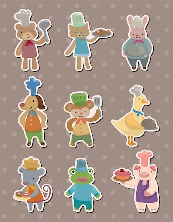 animal chef stickers Stock Photo - Budget Royalty-Free & Subscription, Code: 400-06105476