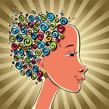 Girl with color curls hair, vector cartoon. Stock Photo - Budget Royalty-Free & Subscription, Code: 400-06105987