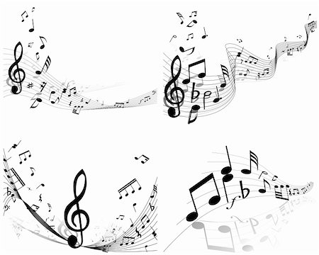 Vector musical notes staff background set for design use Stock Photo - Budget Royalty-Free & Subscription, Code: 400-06106160
