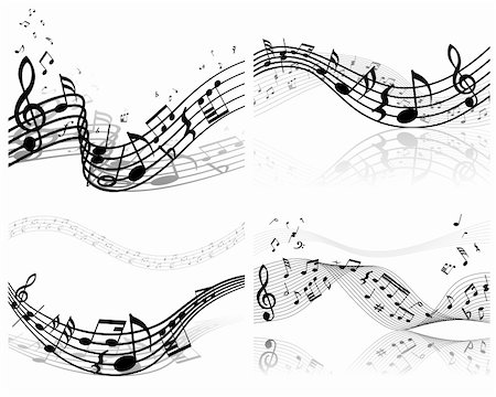Vector musical notes staff background set for design use Stock Photo - Budget Royalty-Free & Subscription, Code: 400-06106161