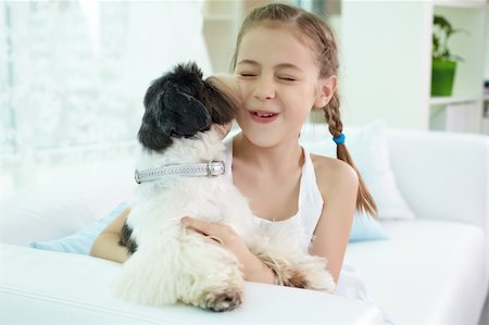 dog kissing girl - Portrait of happy girl playing with shih-tzu dog at home Stock Photo - Budget Royalty-Free & Subscription, Code: 400-06107086