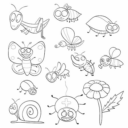 Outlined cute cartoon insects for coloring book. Vector illustration. Stock Photo - Budget Royalty-Free & Subscription, Code: 400-06107735