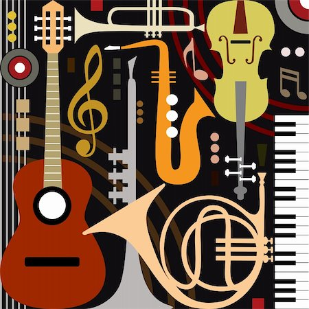 elakwasniewski (artist) - Abstract colored music instruments, full scalable vector graphic, change the colors as you like. Stock Photo - Budget Royalty-Free & Subscription, Code: 400-06100132