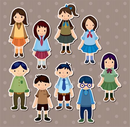 students learning cartoon - student stickers Stock Photo - Budget Royalty-Free & Subscription, Code: 400-06100260