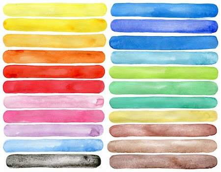 paint dripping abstract pattern - Set of watercolor hand painted brush strokes isolated on white Made myself. Stock Photo - Budget Royalty-Free & Subscription, Code: 400-06100324