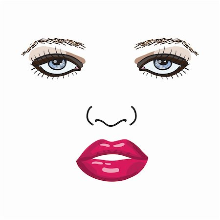 female lips drawing - Beautiful sexy woman face vector illustration eps8 Stock Photo - Budget Royalty-Free & Subscription, Code: 400-06100517
