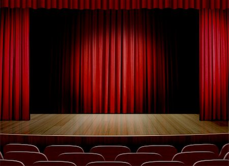 Empty stage with red curtain Stock Photo - Budget Royalty-Free & Subscription, Code: 400-06100758