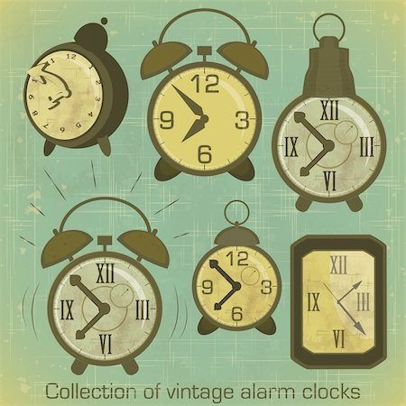 Collection of Vintage Alarm Clocks with Grunge Effect - vector illustration Stock Photo - Budget Royalty-Free & Subscription, Code: 400-06100818